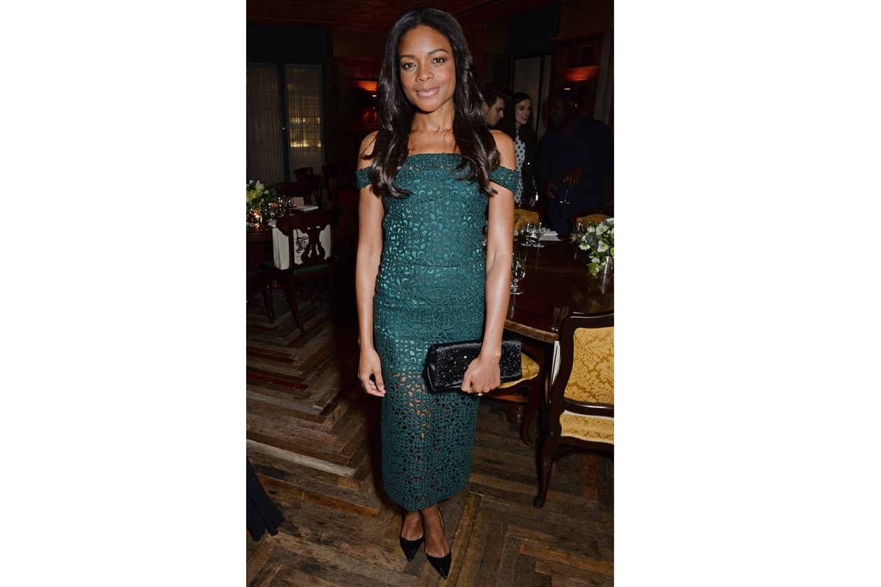 Naomi Harris at Harvey Weinstein's BAFTA nominees dinner in partnership with Burberry & Grey Goose at Little House, Mayfair