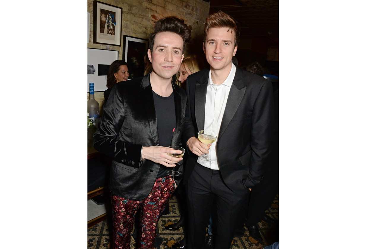 Nick Grimshaw & Greg James at Harvey Weinstein's BAFTA nominees dinner in partnership with Burberry & Grey Goose at Little House, Mayfair