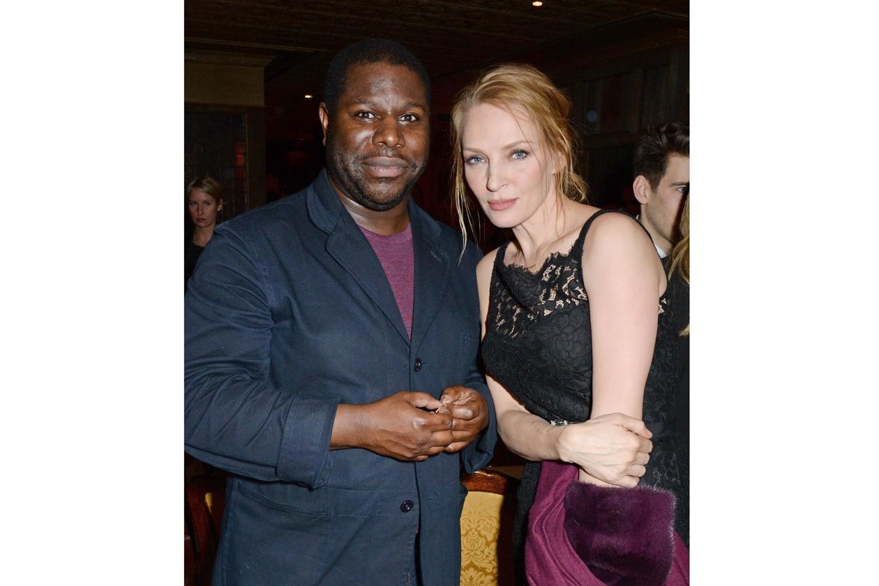 Steve McQueen & Uma Thurman at Harvey Weinstein's BAFTA nominees dinner in partnership with Burberry & Grey Goose at Little House, Mayfair