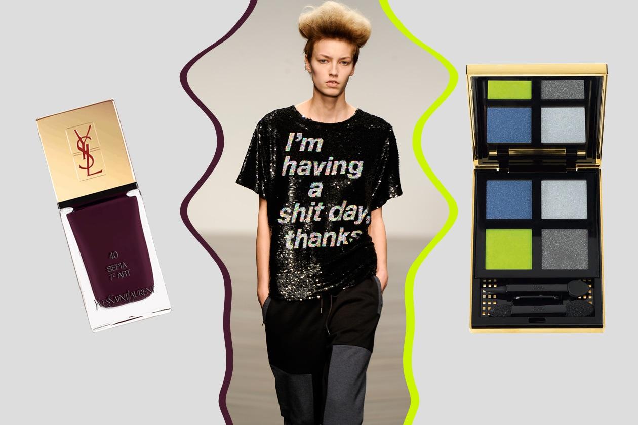 URBAN CHIC: il comfort cittadino dal carattere eccentrico (Ashis). Per il make up scegliamo un mix di nuance (Yves Saint Laurent)