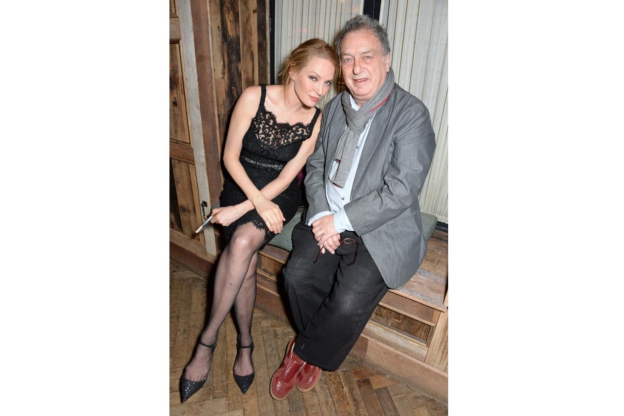 Uma Thurman & Steve Frears at Harvey Weinstein's BAFTA nominees dinner in partnership with Burberry & Grey Goose at Little House, Mayfair (1)