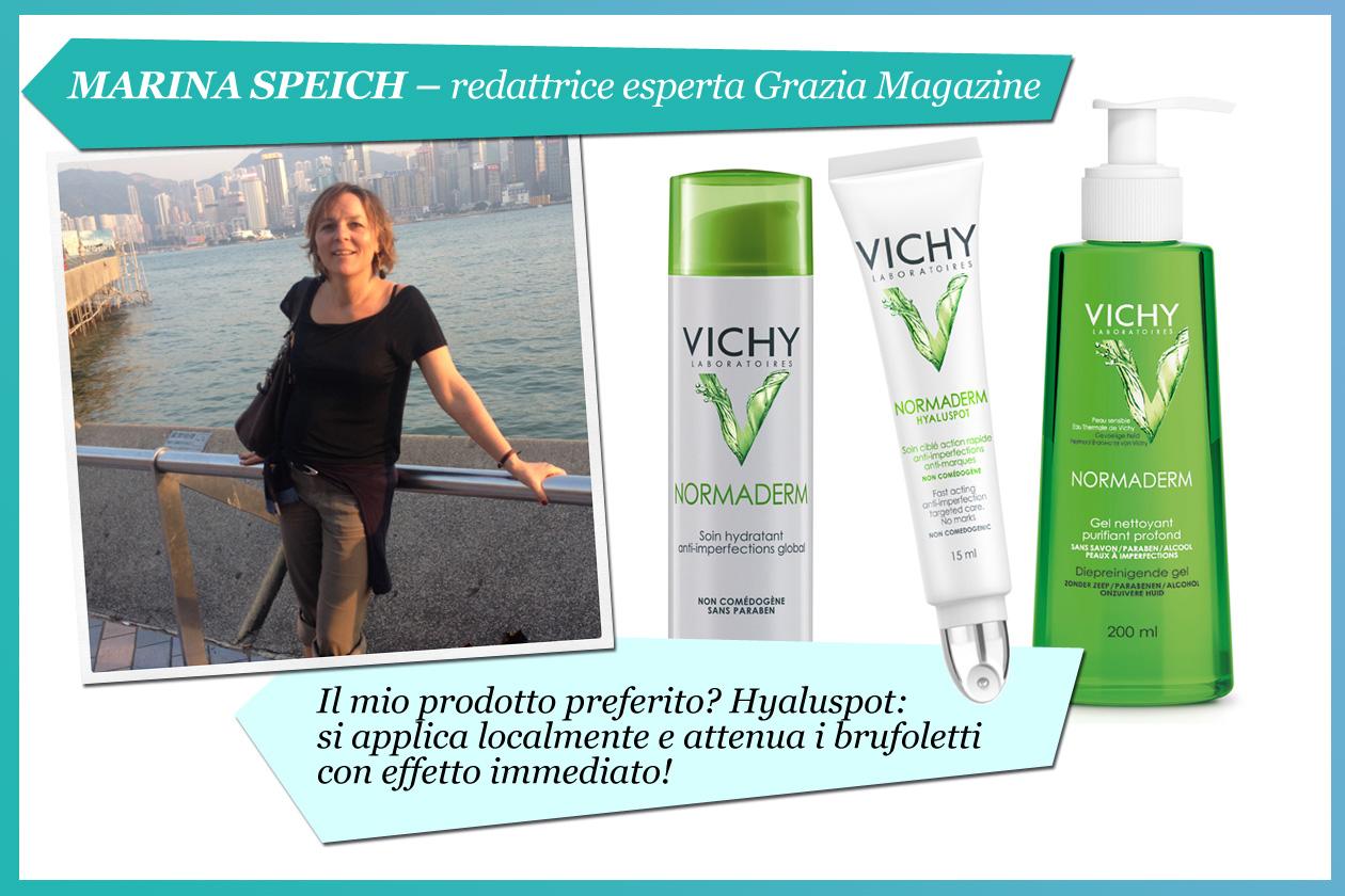 Marina Speich, redattrice esperta di Grazia: «Il mio prodotto preferito? Hyaluspot, della linea Normaderm, che riesce ad attenuare i brufoletti»
