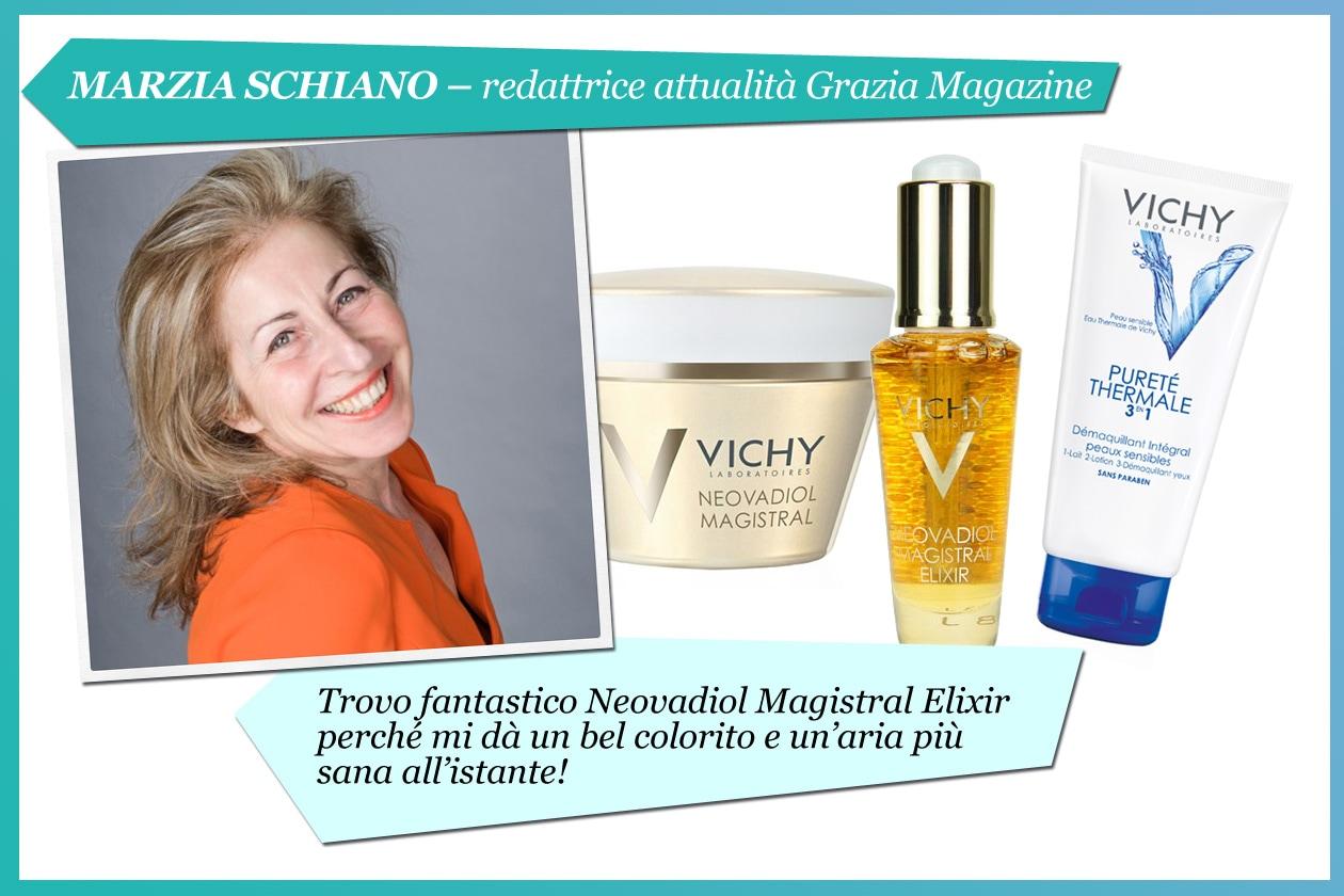 Marzia Schiano, redattrice attualità di Grazia: «Mi piace la texture della linea Neovadiol Magistral; il contorno del viso è più definito»