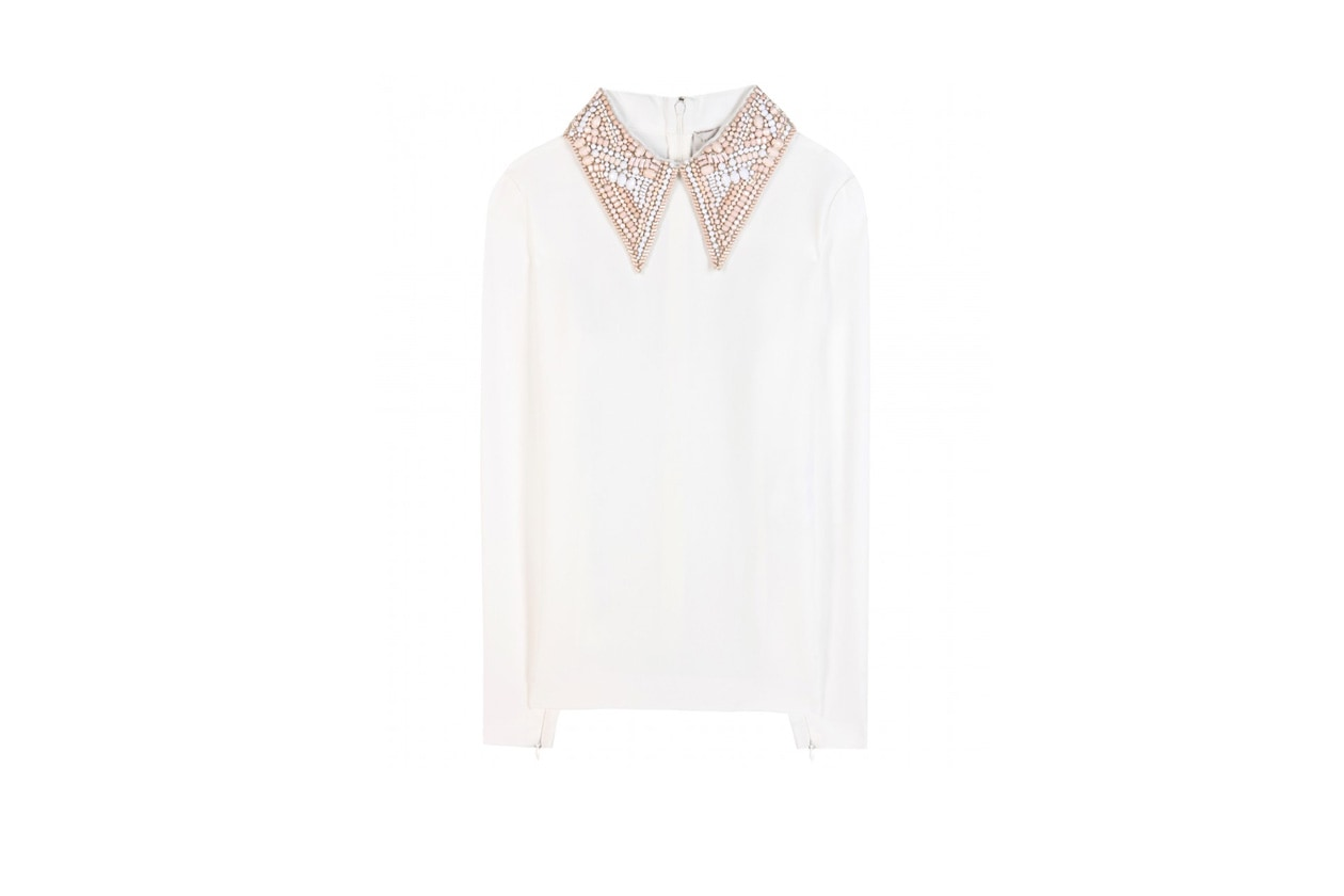 stella mccartney mytheresa Crystal embellished crepe top STANDARD