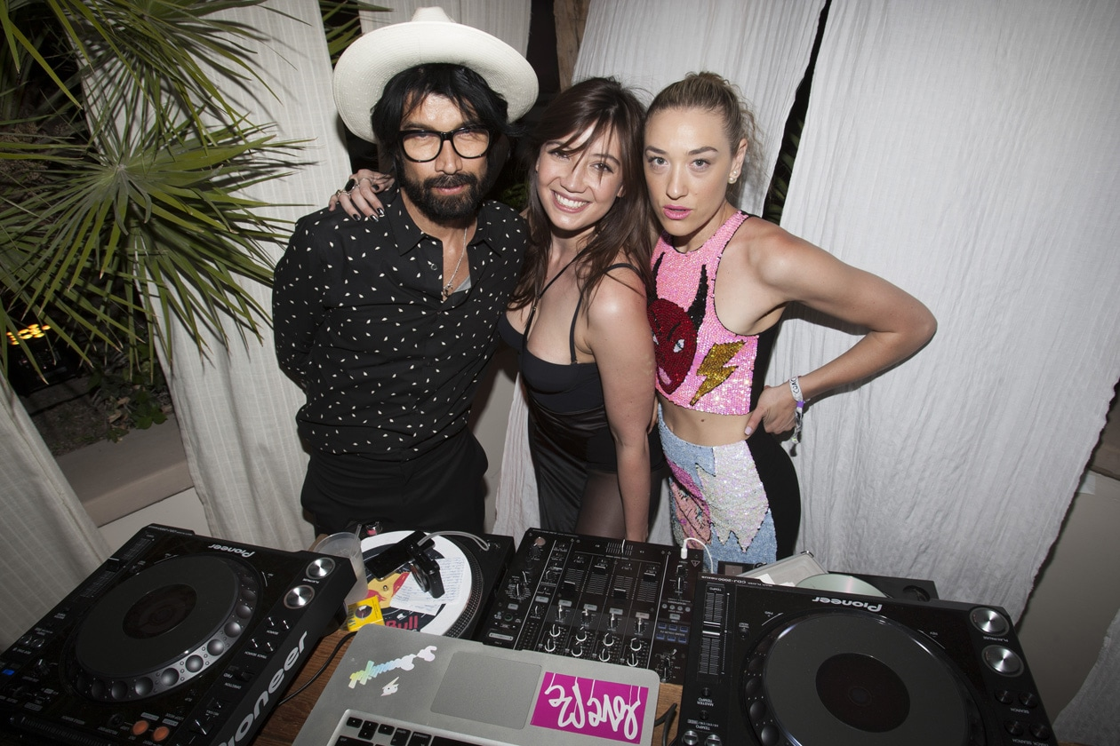 DJ Miles Hendrix with DJ Ana Calderon and DJ Daisy Lowe at Soho Desert House with Bacardi and Spotify Day 1  copy