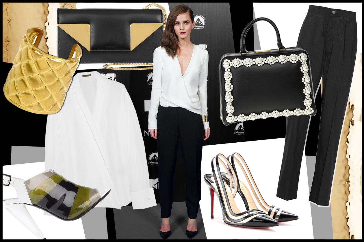 Copia il look bianco≠ro di Emma Watson
