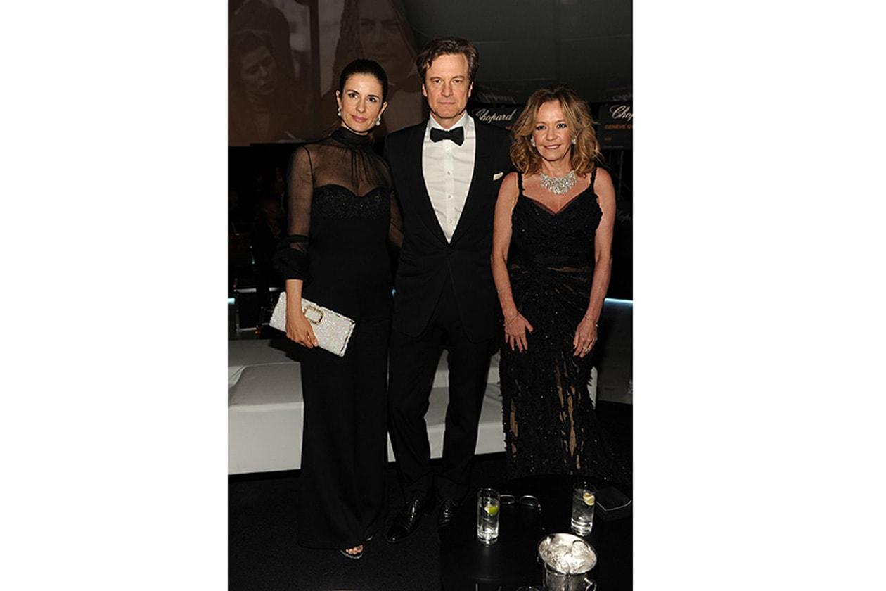 0519 PA Livia Firth Colin Firth Caroline Scheufele at Chopard Backstage party