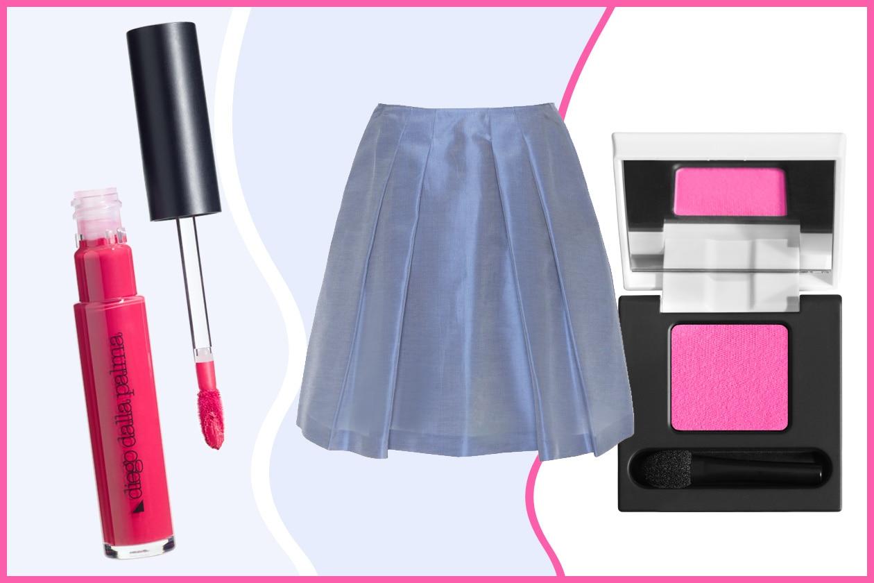 Dal guardaroba prendiamo una gonna a pieghe di Jil Sander. Il colore giusto per un finish girly? Ovviamente il rosa (Diego Dalla Palma)