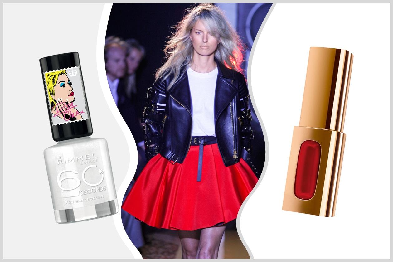 Di sera anche la piccola Joanie si trasforma e diventa rock (Fausto Puglisi). Perfetta la coppia white&red (L'Oréal Paris – Rimmel)
