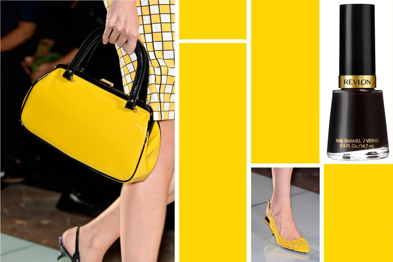 … E DALLA TESTA AI PIEDI: nero e giallo anche per Roccobarocco da abbinare alla lacca Seductive di Revlon: non solo pastello per questa primavera!