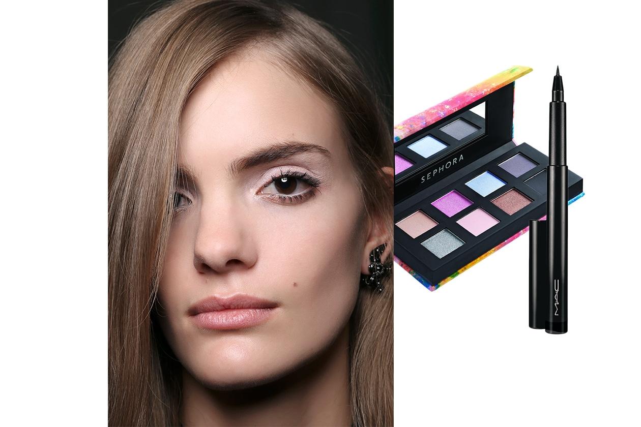 EYELINER NERO E OMBRETTO CHIARO: look dalla sfilata di N.21. Make up: Mac Cosmetics – Sephora