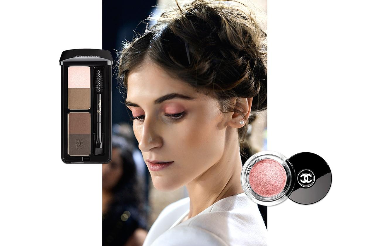 FOCUS SOPRACCIGLIA E MAKE UP SUI TONI DEL ROSA: look dalla sfilata di Angelo Marani. Make up: Guerlain – Chanel