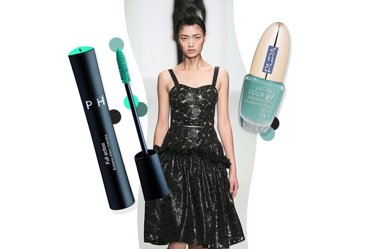 GREEN ATTITUDE: fiori dark per il vestito di Simone Rocha. Make up sui toni del mare (Pupa –Sephora)