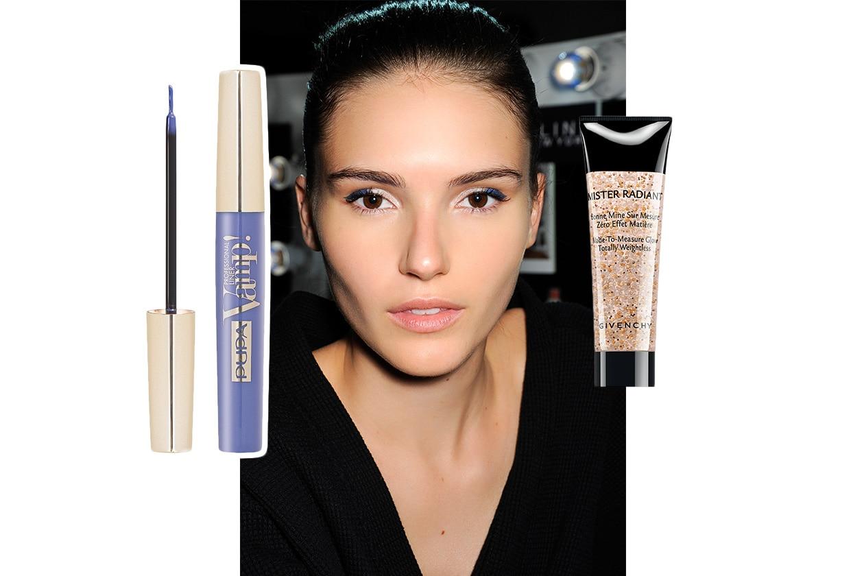 ILLUMINANTE E EYELINER BLU: look dalla sfilata di David Koma. Make up: Givenchy – Pupa