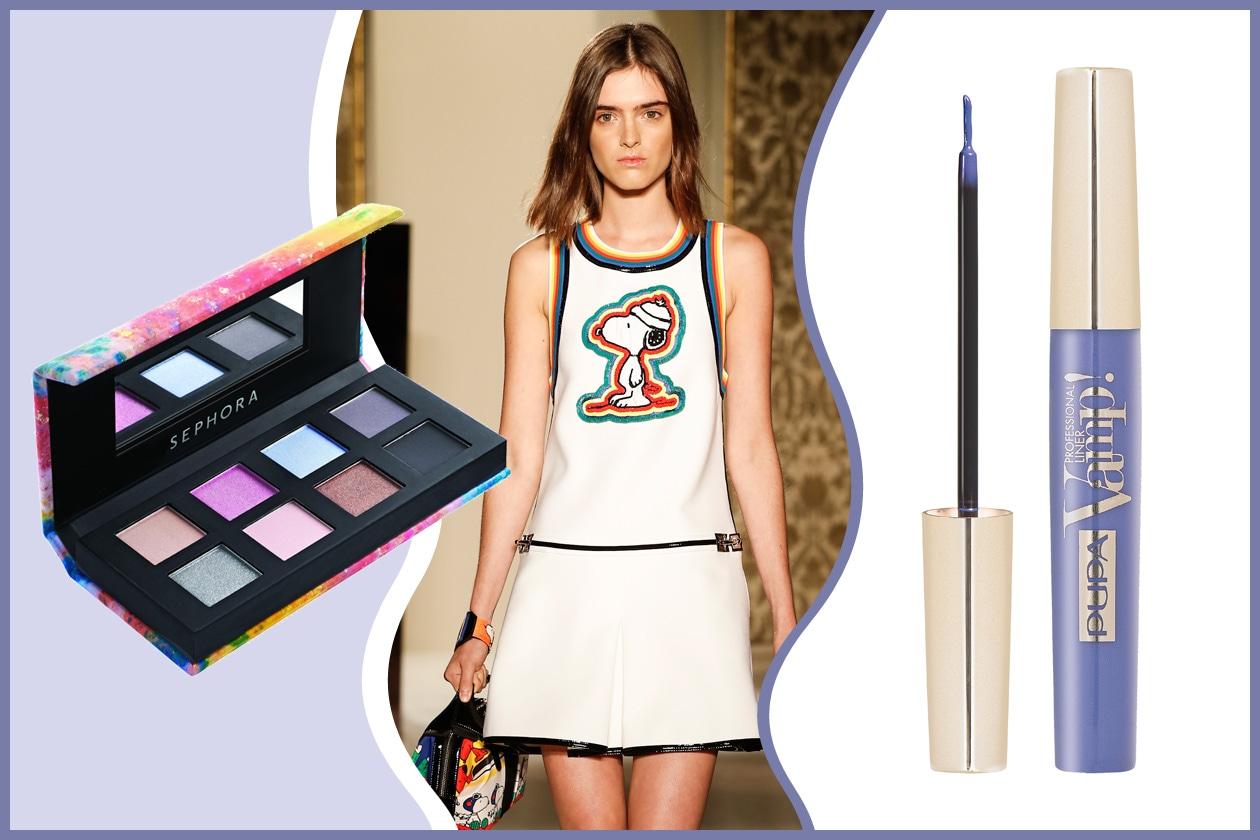 In piena adolescenza con il mini dress di Fay. Il trucco giusto? Polveri pastello e una riga blu sugli occhi (Sephora – Pupa)