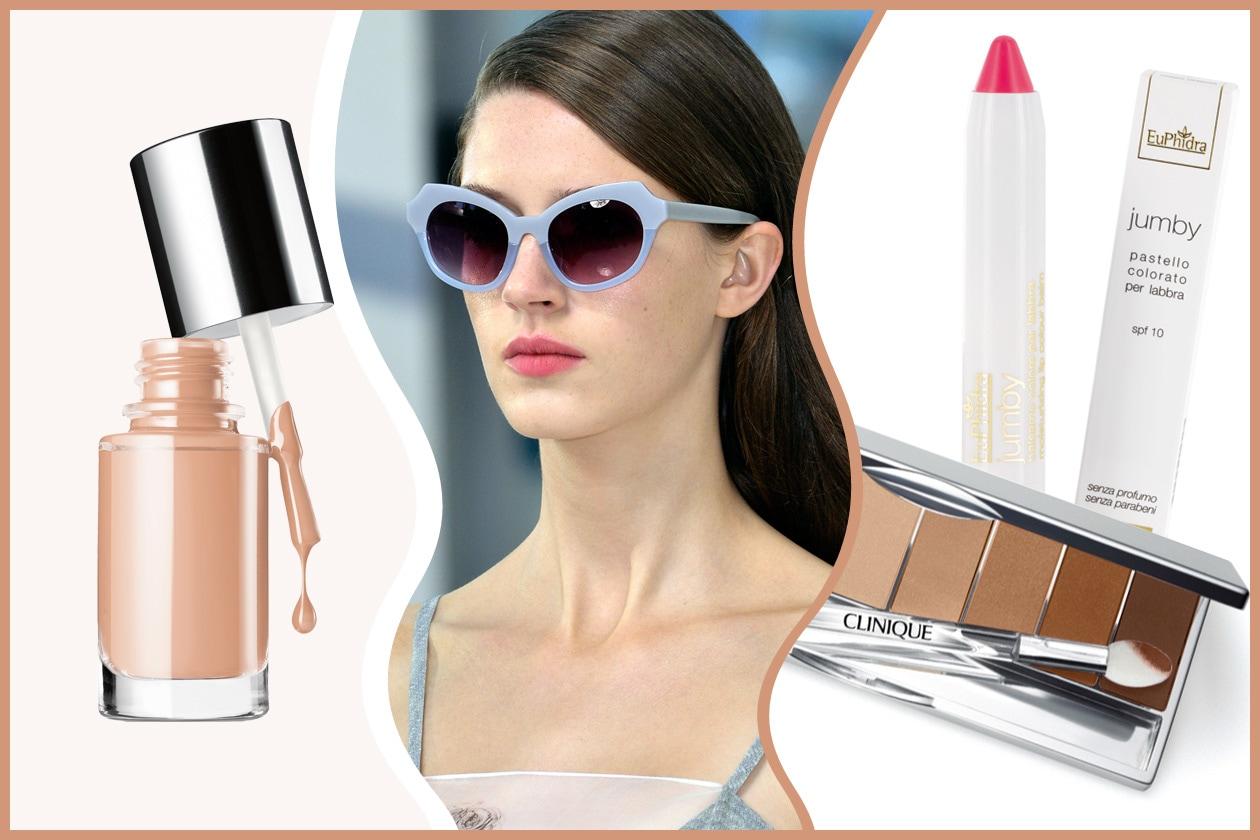 Le tonalità si fanno pastello con gli occhiali di Preen: il trucco è nude (Clinique – Euphidra)