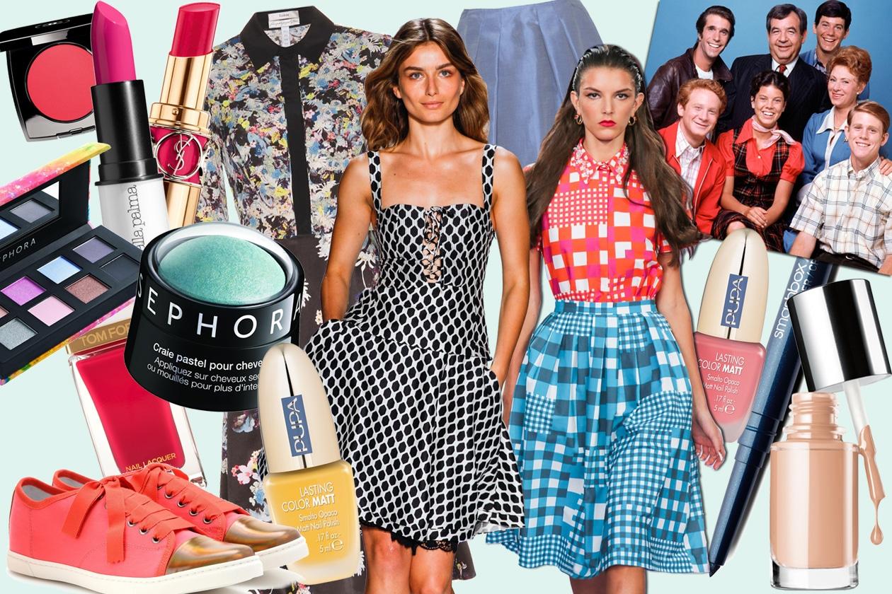 """Make up vintage tra anni Cinquanta e Sessanta: ispirazione """"Happy Days"""", la serie tv che compie 40 anni. Gli abbinamenti beauty&fashion di Grazia.IT"""