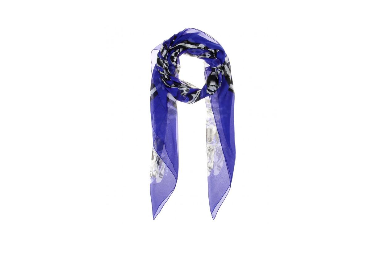 P00095757 Feather Circle printed silk chiffon scarf STANDARD