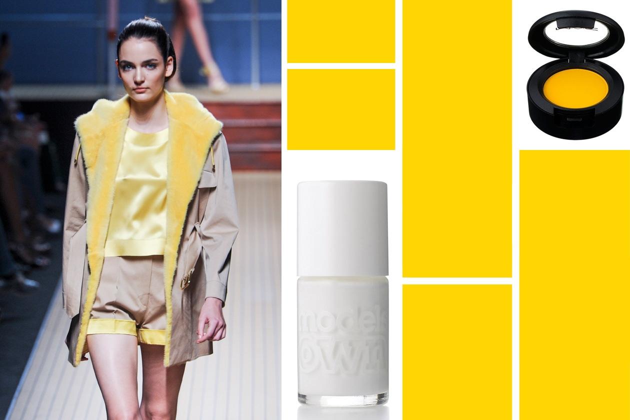 Pennellate di bianco con lo Snow White Polish di Model Own, perfetto se abbinato al total look giallo di Ermanno Scervino e l'ombretto MAC