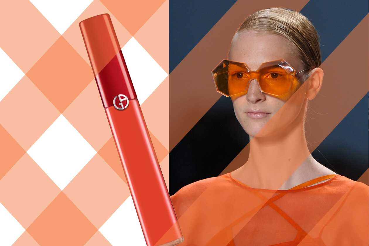 Tonalità flash (Lip Maestro 300 FleshdiGiorgio Armani Beauty – occhiali diOsklen)