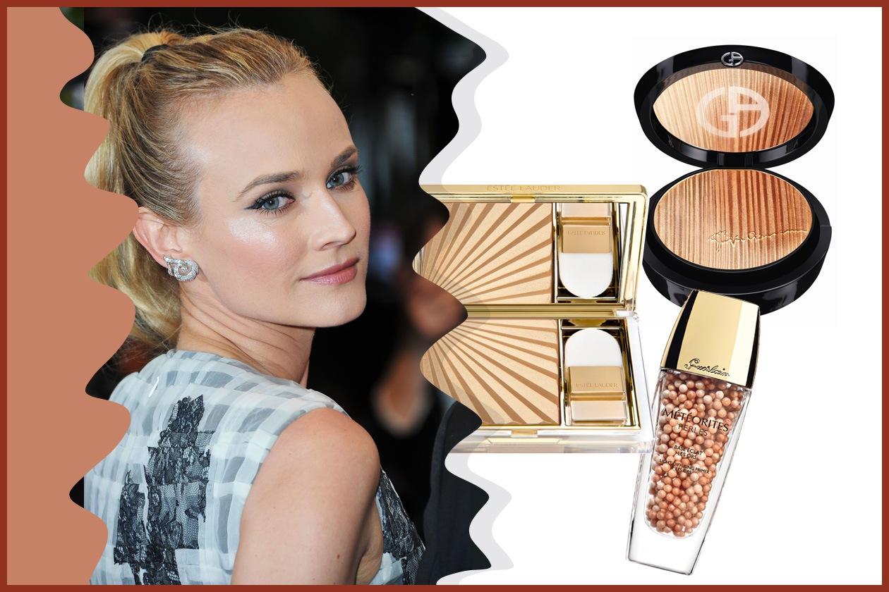 Un mix di polveri per un viso luminoso è il segreto di Diane Kruger (Estée Lauder, Giorgio Armani Beauty, Guerlain)