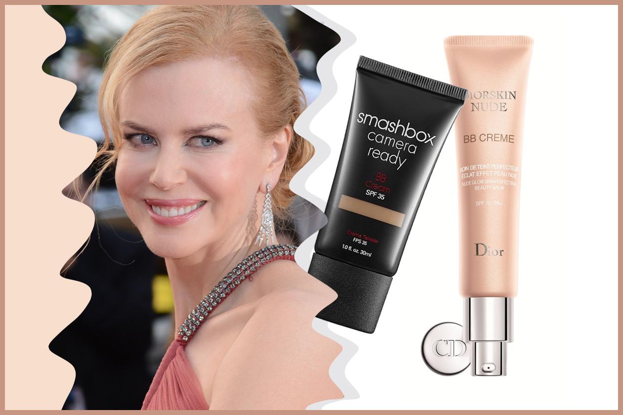Un velo di rossetto, un mascara e una BB cream come la Diorskin Nude o la Camera Ready BBCream di Smashbox per Nicole Kidman