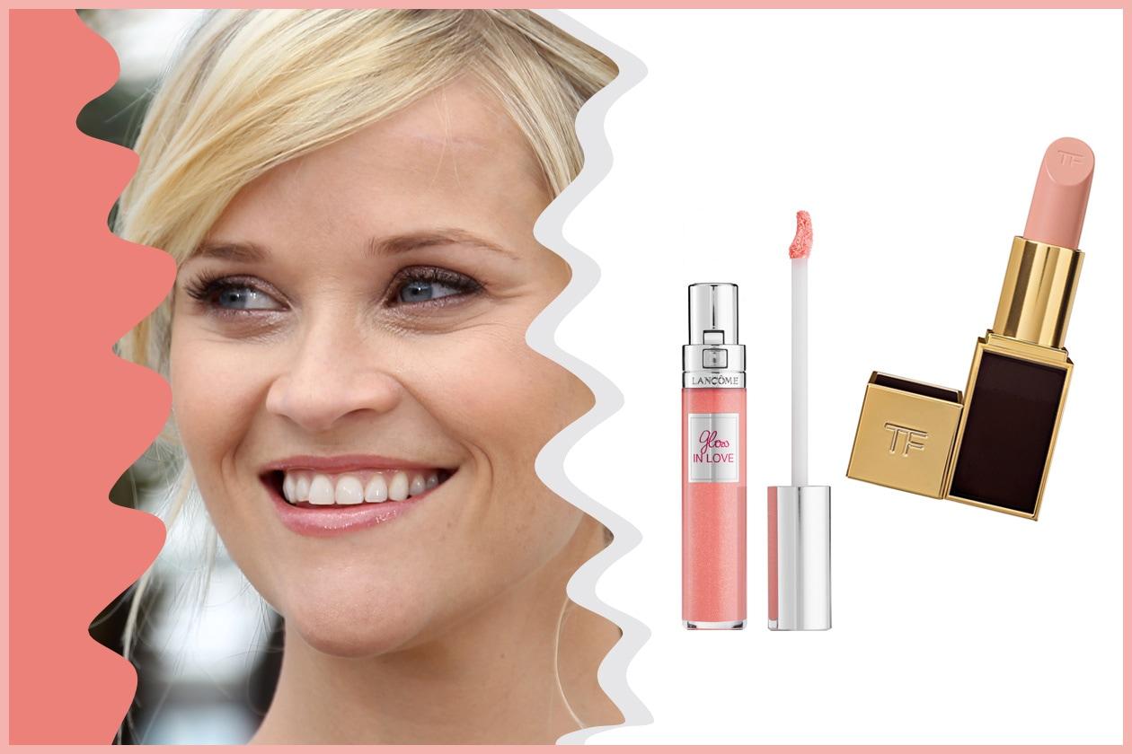 Versatile e facile il make up di Reese Witherspoon che sceglie labbra nude e glossy (Tom Ford e Lancôme)