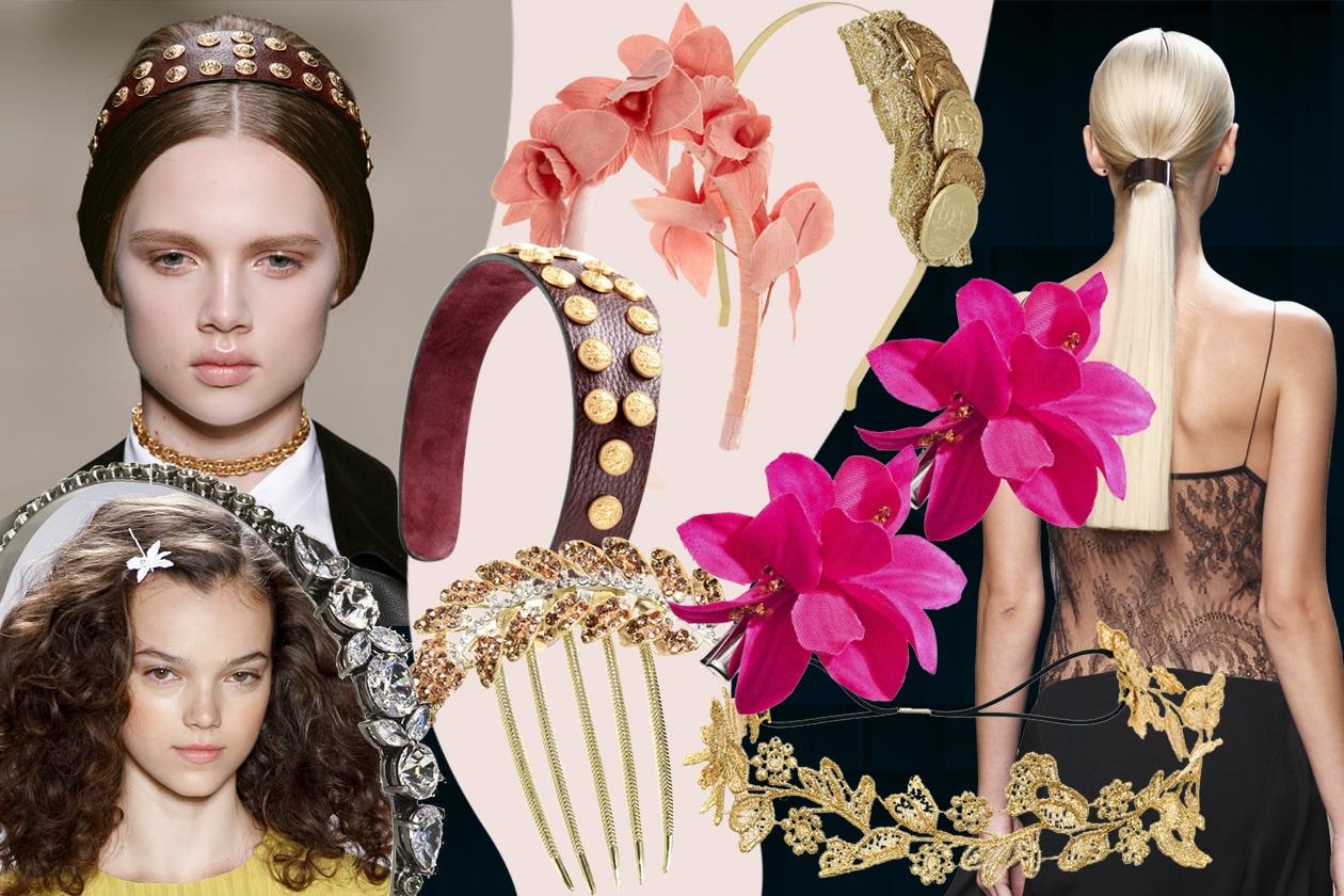Accessori per capelli: fiori, metallo, pietre preziose e cerchietti per la P/E 2014
