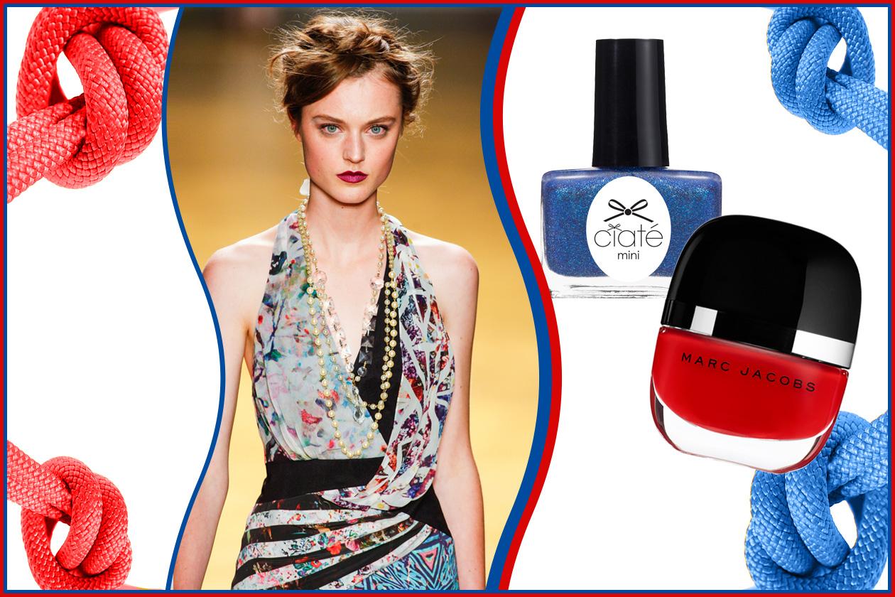Bello il vestito vintage di Nicole Miller (sulle unghie: Ciaté in True Blue ed Enamored Nail Glaze in Lola di Marc Jacobs Beauty)