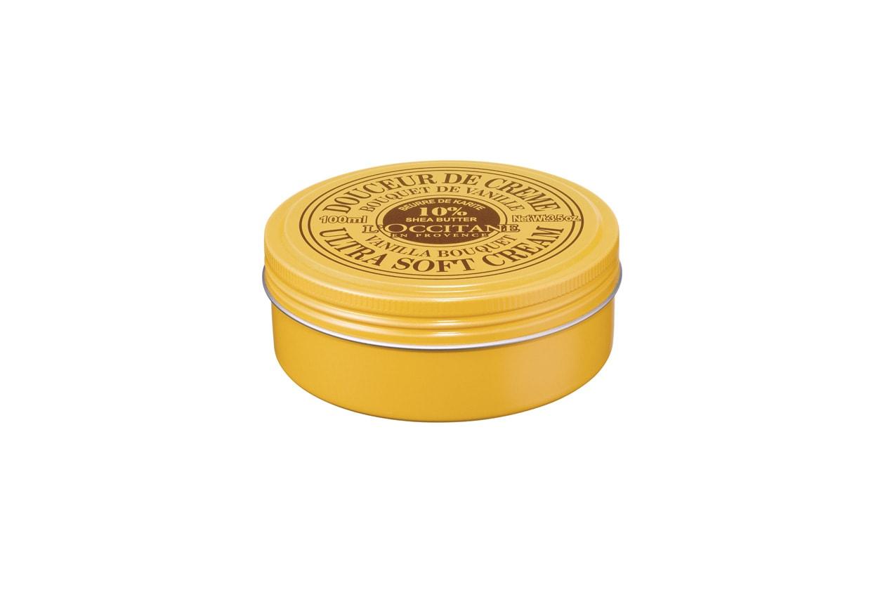 Ricca di burro di karité, la Vanilla Bouquet Shea Ultra Soft Cream di L'Occitane è indicata sia per viso sia per corpo