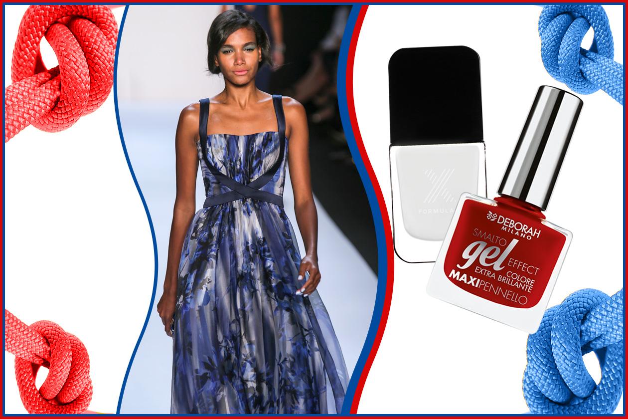 Se la manicure vira sul white&red (Formula X e Deborah Milano), l'outfit è sui colori del blu (Badgley Mischka)
