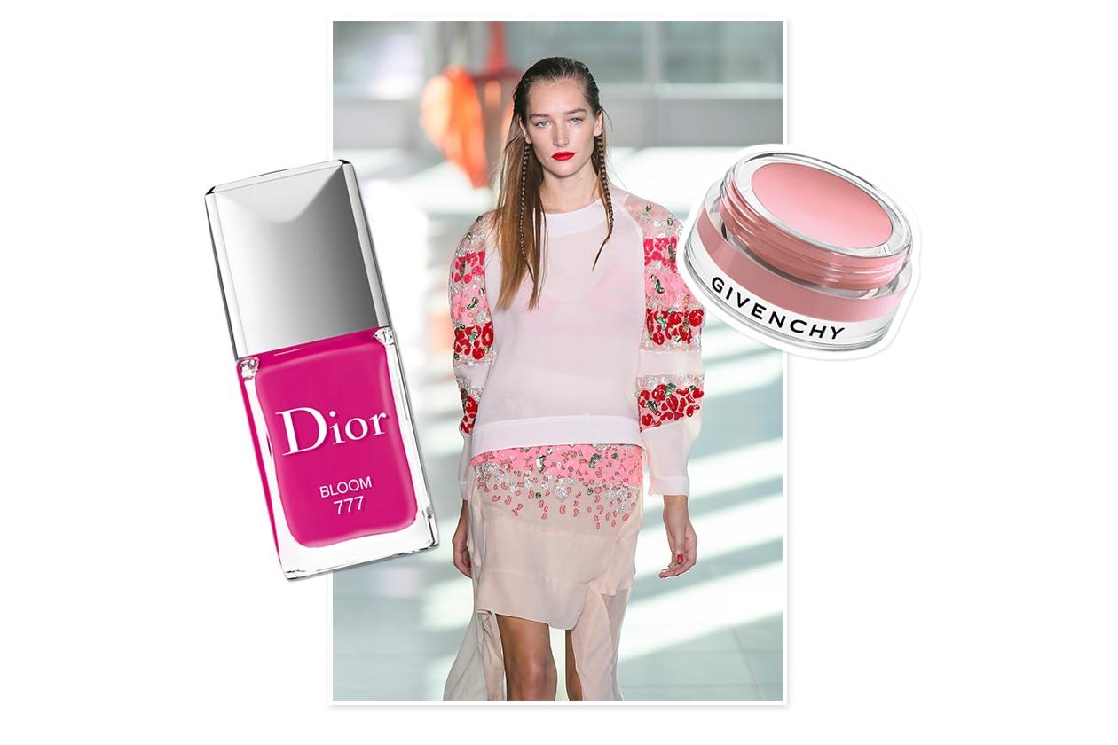 TRIS DI COLORI: bianco panna, rosso ciliegia e pink pastel: il mix giusto per golosi abbinamenti (Antonio Berardi –  Givenchy – Dior)