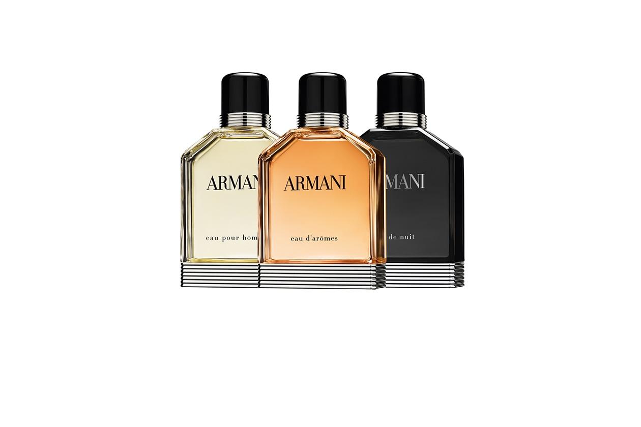 Tre fragranze iconiche di Giorgio Armani: Eau de Nuit, Eau pour Homme e il nuovo Eau d'Arômes