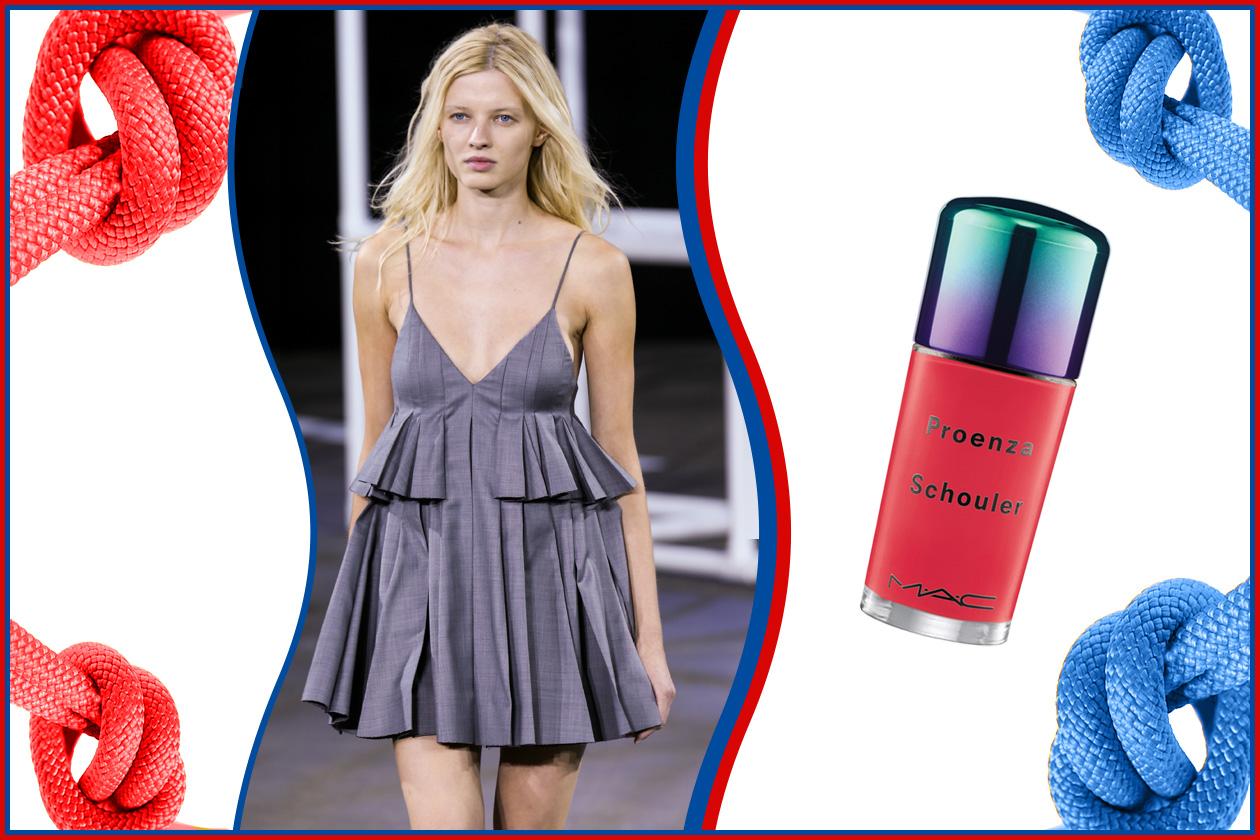 UNGHIE ROSSE: laccate effetto gel (MAC Cosmetics) per una manicure protagonista. Vestito (Alexander Wang) da serata in riva al mare