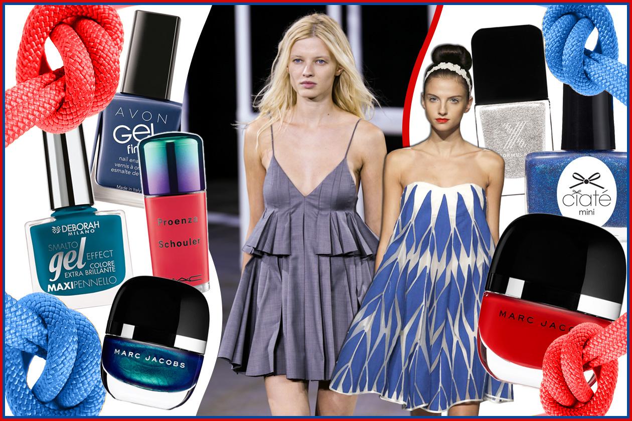Unghie alla marinara: bianco, rosso e blu per una nail art navy très chic. Scoprite con Grazia.IT tutti gli abbinamenti beauty&fashion