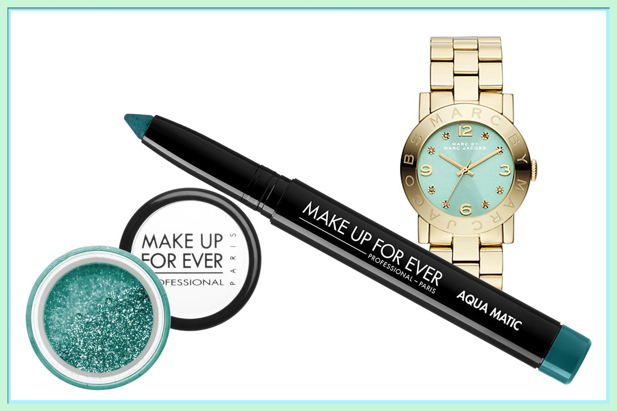 Abbinamenti beauty & fashion acquamarina: Make Up For Ever e Marc Jacobs