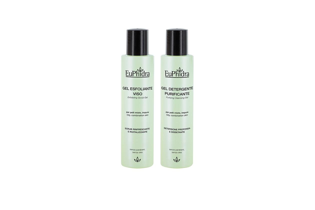 A detergere in profondità ci pensa il Gel esfoliante viso di Euphidra, mentre il Gel detergente purificante rinfresca la pelle