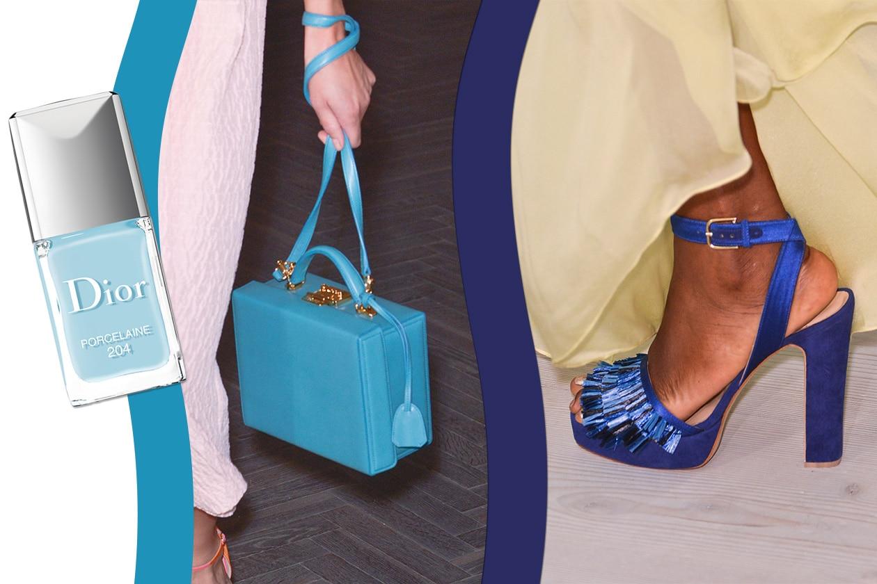 Accessori in evidenza con la borsa di Emilia Wickstead e le scarpe di Matthew Williamson. Per le mani scegliamo Dior Vernis 204 in Porcelaine