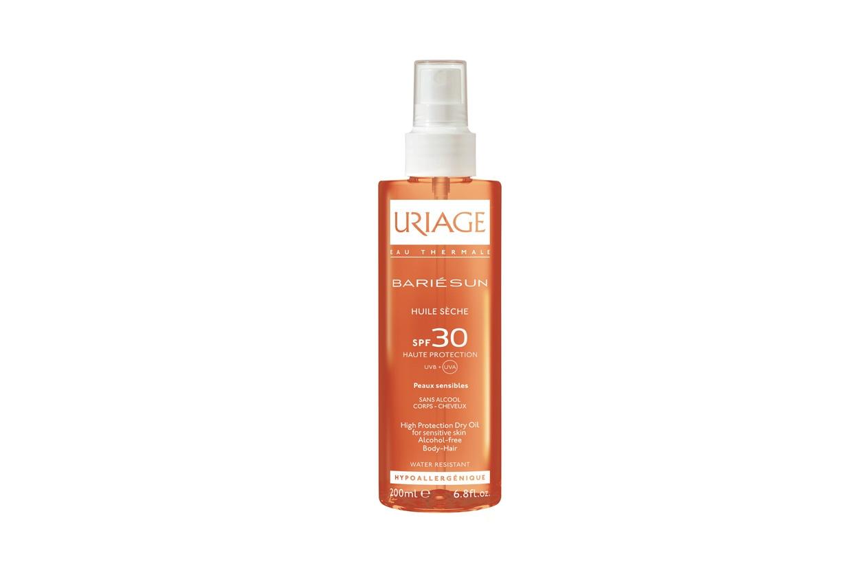 L'Olio Secco SPF 30 di Uriage è ideale per corpo e capelli