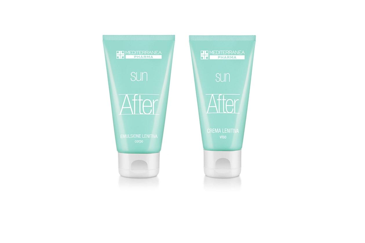 La Crema Lenitiva Viso di Mediterranea contiene bisabololo, un complesso idratante e attivatore dell'abbronzatura e vitamina E come l'Emulsione Lenitiva Corpo