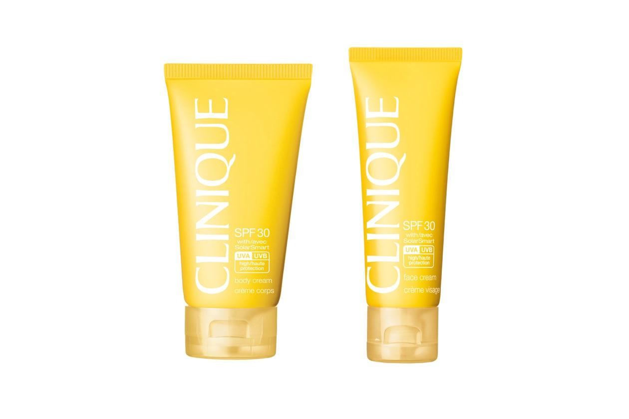 La Face Cream e la Body Cream SPF 30 di Clinique hanno formule leggere, prive di oli. Resistenti ad acqua e sudore, non ostruiscono i pori