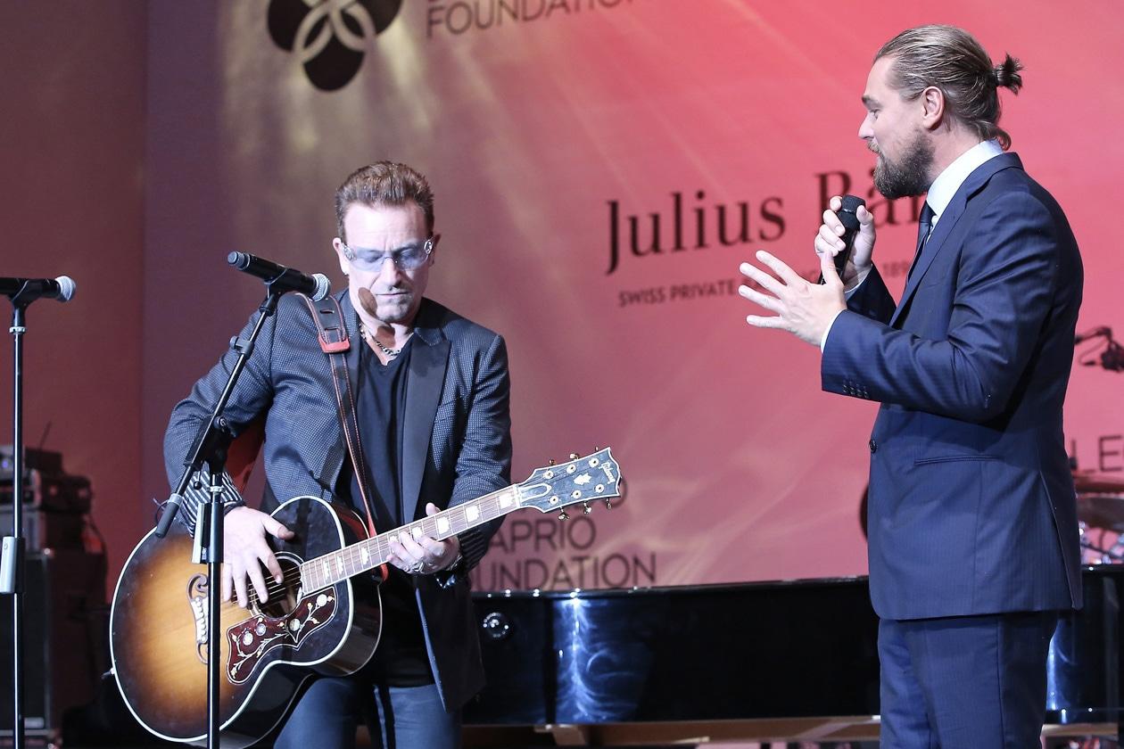Leonardo DiCaprio Foundation Gala Leonardo DiCaprio and Bono appear onstage