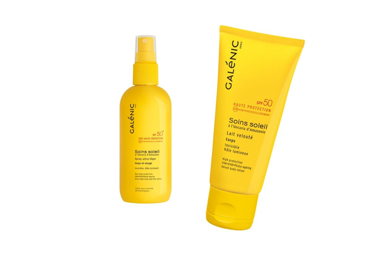 Lo Spray ultra leggero corpo e viso SPF50+ di Galenic è ideale per proteggersi dai primi raggi del sole. Il Latte vellutato leggero idrata profondamente