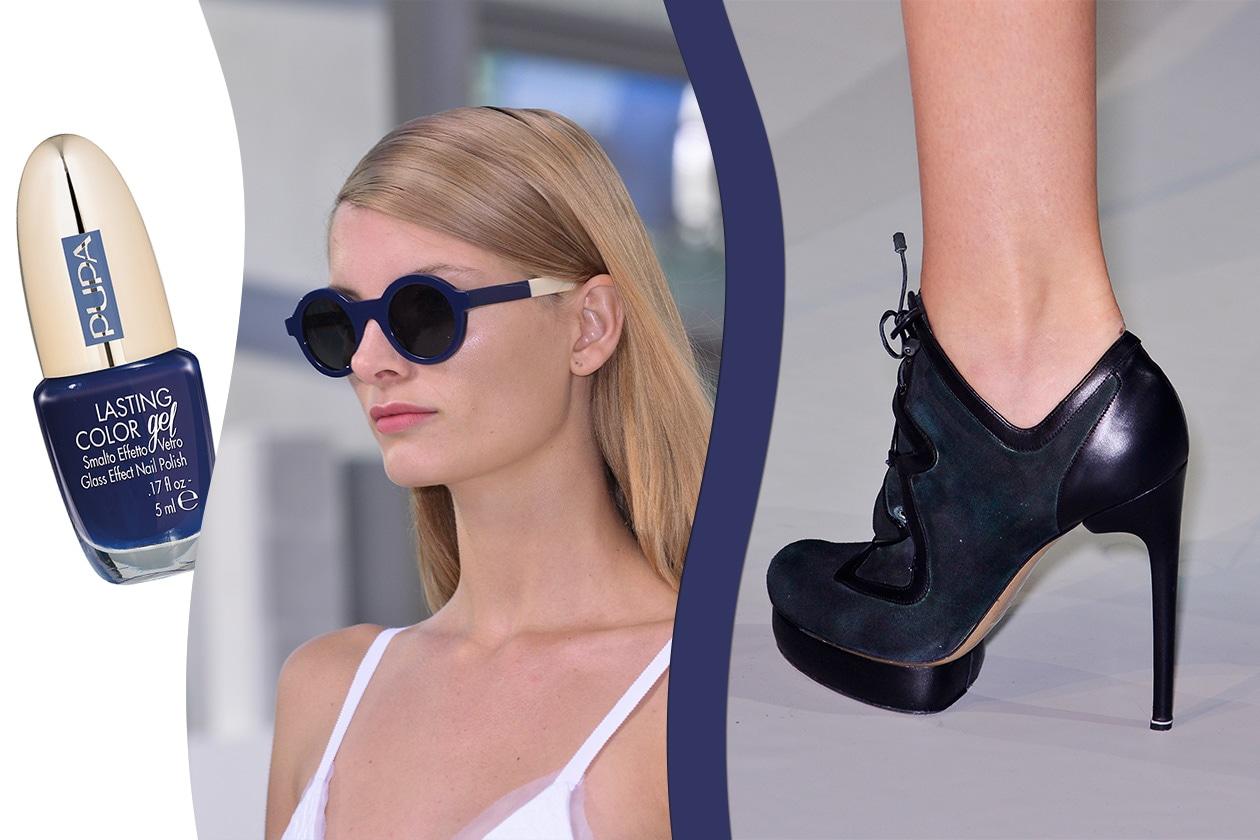 Nuance più scure (occhiali di Preen – smalto Pupa – scarpe Anya Hindmarch)
