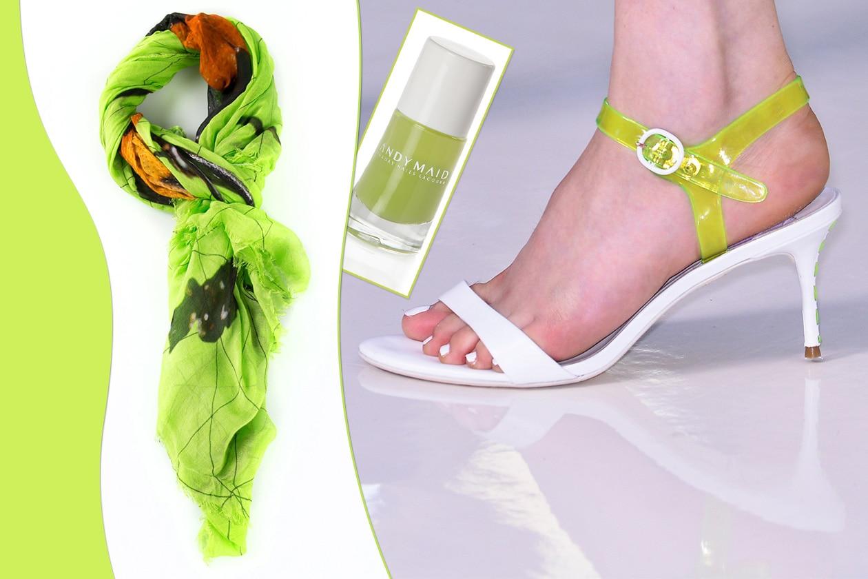 Per chi preferisce le varianti neon consigliamo il tris Luxury Nail Lacquer 185 di Andy Maid per le mani, sciarpa di Faliero Sarti e sandalo di Preen