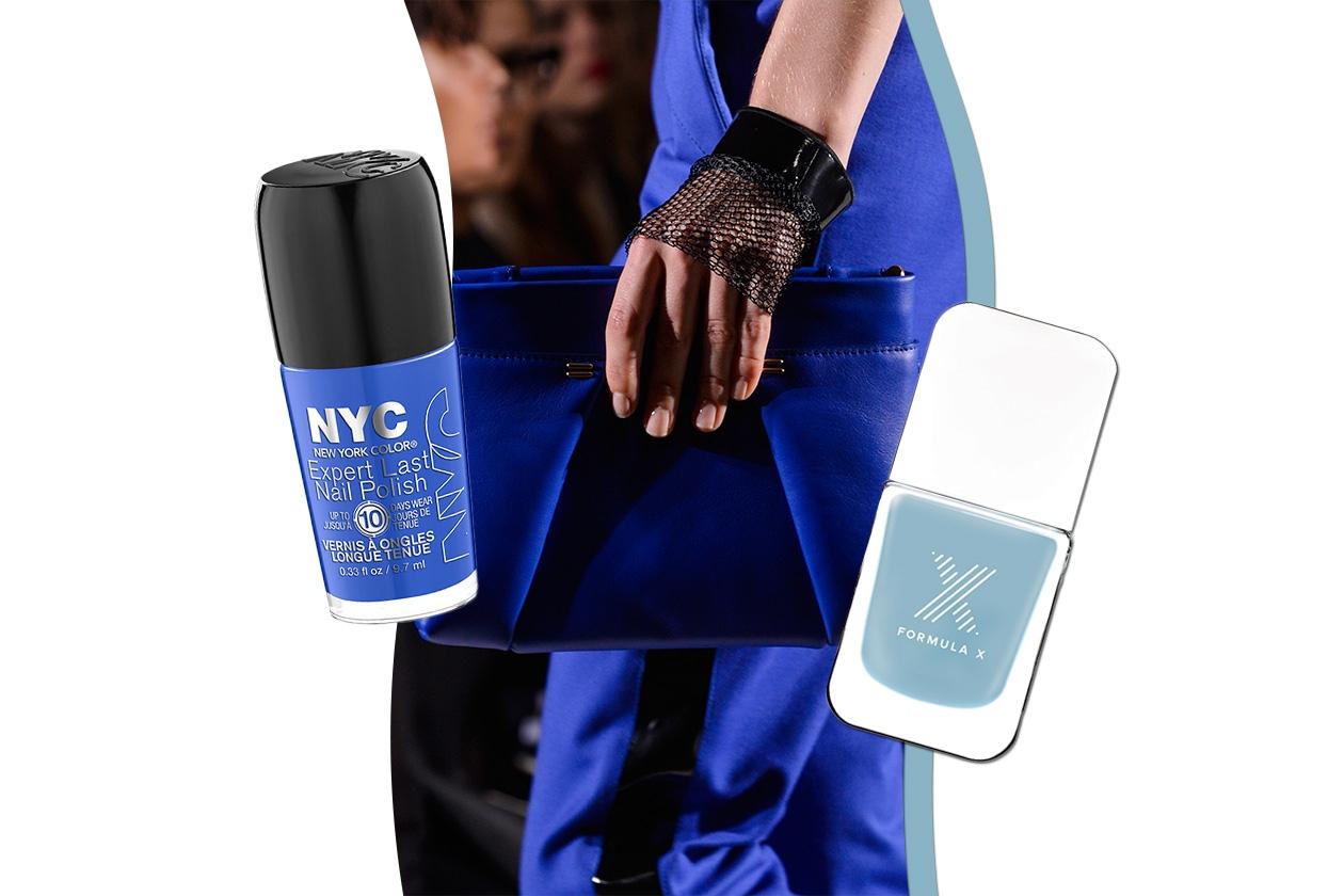 Per le blu addicted: tutte le gradazioni di lacche dai finish diversi con accessori di tonalità simile ma mai uguale (New York Colors – Formula X – Roland Mouret)