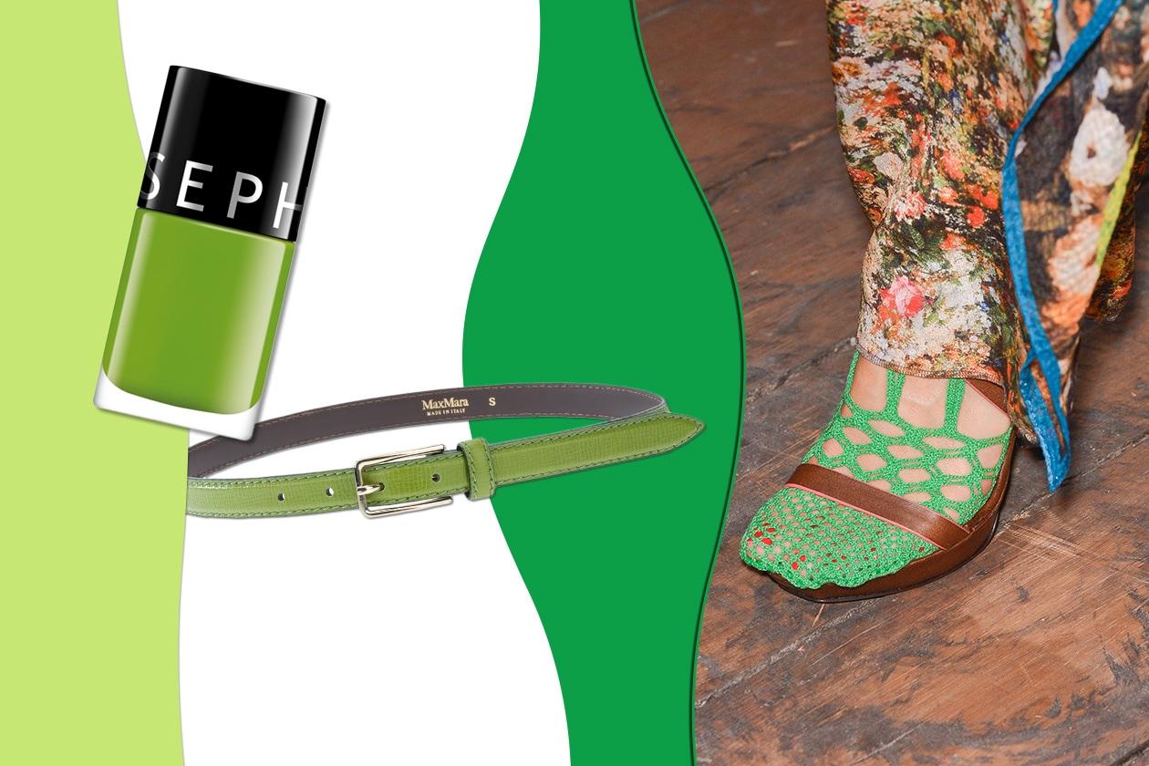 VERDE CHIARO: perfetto per i dettagli. Che sia una cinta (Max Mara), o una calza a rete (Vivienne Westwood Red Label). Per le unghie smalto by Sephora