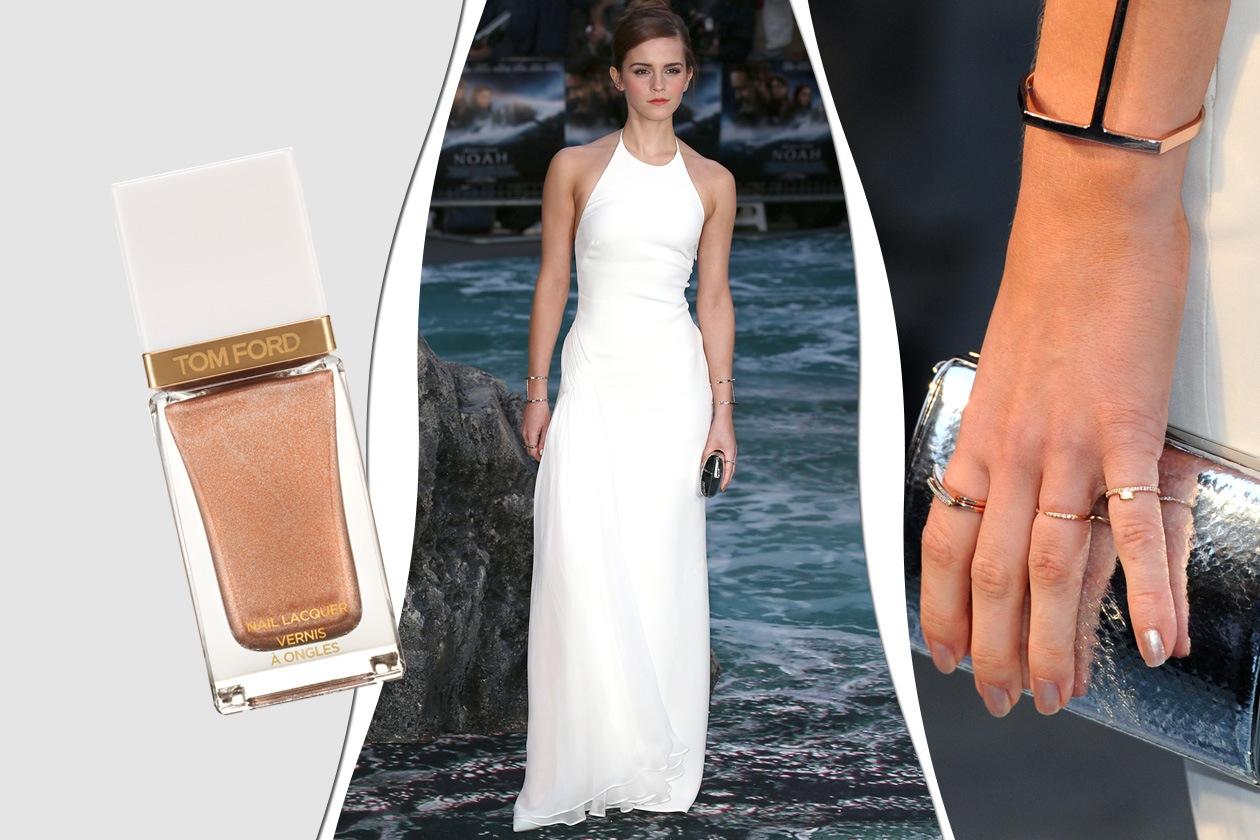 SMALTI NUDE: Emma Watson preferisce un finish shimmer (Tom Ford)
