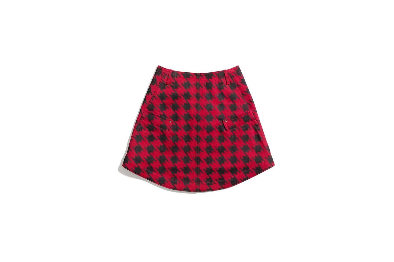 85507 Twill Round Hem Skirt Houndstooth