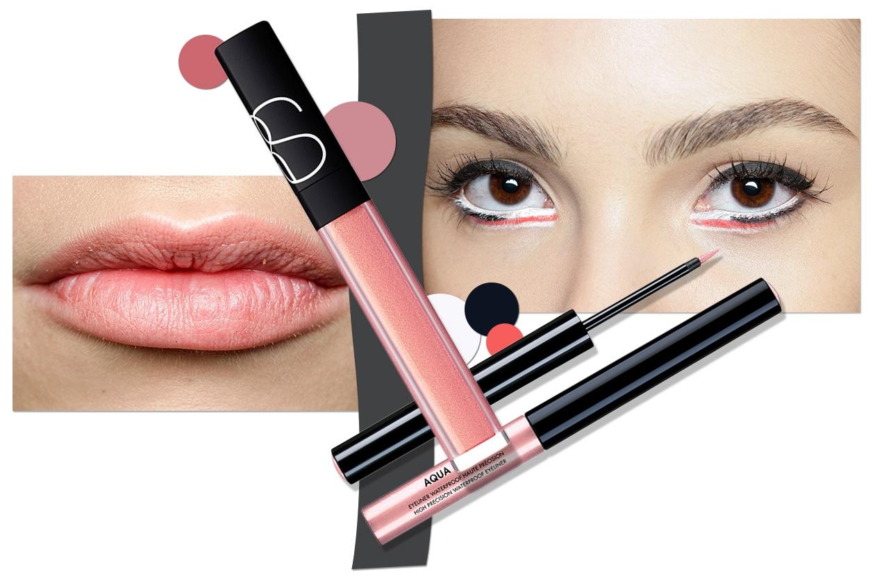 PINK!: rossetto o gloss rosa ed eyeliner dello stesso colore. Un total pink davvero cool! (Make Up Forever – Nars – Chado Ralph Rucci)